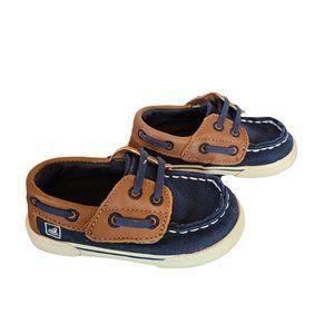 SPERRY TOP-SIDER Navy & Brown Baby Deck Shoes 4M